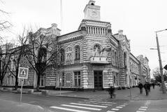 Улица после дождя в Chisinau столица республики Молдавии Архитектура и здания, бульвар Стефана большой Стоковое Изображение