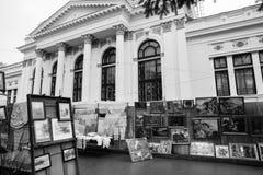 Улица после дождя в Chisinau столица республики Молдавии Архитектура и здания, бульвар Стефана большой Стоковое фото RF