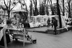 Улица после дождя в Chisinau столица республики Молдавии Архитектура и здания, бульвар Стефана большой Стоковые Фото