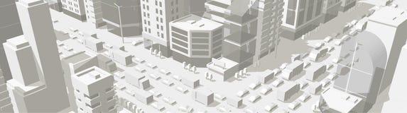 Улица предпосылки зданий города в светлом - серые тоны пересечение дороги 3d Высокий взгляд проекции города детали Автомобили кон бесплатная иллюстрация