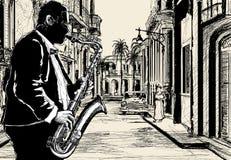 улица саксофониста Кубы иллюстрация штока