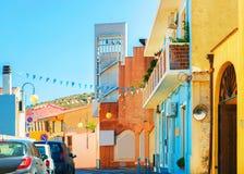 Улица со старыми домами в провинции южной Сардинии Villasimius Cagliary стоковое фото