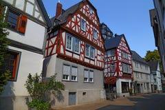 Улица старого исторического городка Diez, Германии стоковые фотографии rf