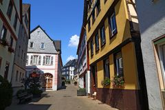 Улица старого исторического городка Diez, Германии стоковое фото rf