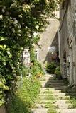 Улица старой деревни Colonnata, известной для produ стоковая фотография rf