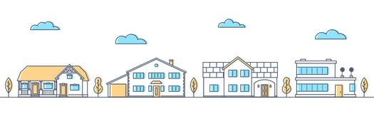 Улица с различными живущими домами Коттеджи в ряд бесплатная иллюстрация