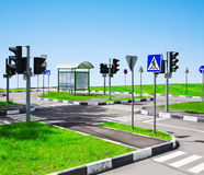 улица дорожных знаков пересечения Стоковые Изображения RF