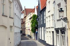 Улица brugge в Бельгии стоковое фото rf