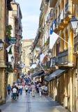 улица 31 de Agosto в городке San Sebastian старом Gipuzkoa Стоковые Изображения RF