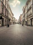 Улица Florian в историческом центре города Кракова, Польше Стоковое Изображение RF