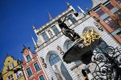 улица gdansk Нептуна фонтана dluga Стоковое Фото