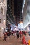 Улица Hong Kong на ноче Стоковые Фото