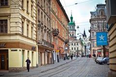 улица lviv осени стоковые фото