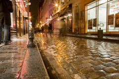 улица paris влажная Стоковая Фотография