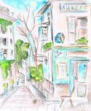 улица paris Фасад кафа иллюстрация акварель иллюстрация вектора