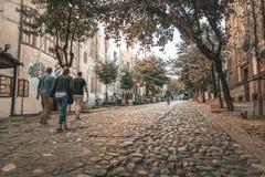 Улица Skadarlija в Белграде, Сербии стоковое фото
