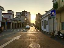 Улицы в заходе солнца стоковые фото