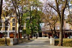 Улицы городка в осени - Vrnjacka Banja, Сербии стоковое изображение rf