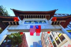Улицы Чайна-тауна на ярком солнечном дне в Бостоне стоковые фото