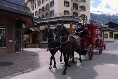 Улицы Zermatt, Швейцарии Стоковые Фото