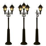 Уличные фонари собрание, комплект фонарика Фонарный столб вковки Стоковая Фотография RF