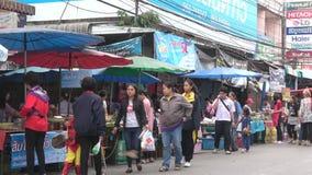 Уличный рынок в Chiang Rai Таиланд сток-видео