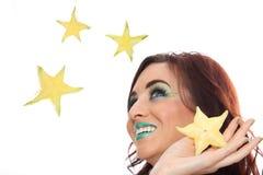 Уловите плодоовощ падая звезды Стоковые Фото