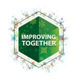 Улучшающ совместно флористические заводы делают по образцу зеленую кнопку шестиугольника бесплатная иллюстрация