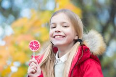 Улыбка девушки с леденцом на палочке на естественной предпосылке Стоковые Фото
