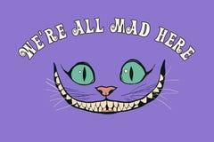 Улыбка кота Чешира для сказа Алисы в стране чудес иллюстрация вектора