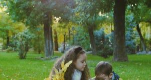 Улыбки стильный радостные европейские маленькие милые брат и сестра красивой моды счастливые имеют потеху идя в парке осени видеоматериал