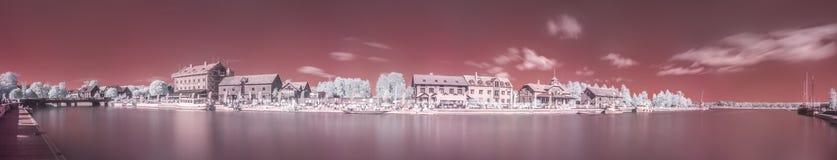 Ультракрасная панорама гавани Nyköpings Стоковые Фотографии RF