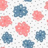Ультрамодная безшовная картина с цветками и точками польки Нарисовано вручную иллюстрация штока