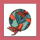 Ультрамодная карточка лета с золотыми рыбами Стоковые Изображения RF
