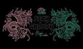 Ультрамодная печать с драконами Японии бесплатная иллюстрация