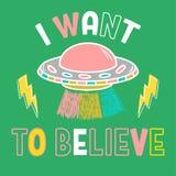 Ультрамодная печать с UFO и фразой иллюстрация штока
