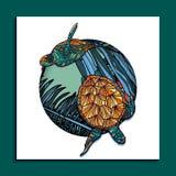 Ультрамодная тропическая карточка turteles Стоковая Фотография RF