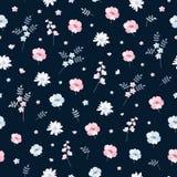 Ультрамодная ditsy флористическая безшовная картина в векторе Милый пинк и голубые цветки на темной предпосылке иллюстрация штока