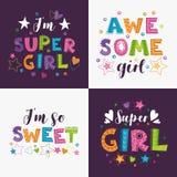 Ультрамодные girlish лозунги с декоративными элементами для girlish футболок конструируют стоковое изображение