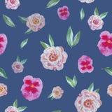 Ультрамодный красивый безшовный цветочный узор на темной предпосылке бесплатная иллюстрация