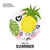 Ультрамодный тропик и предпосылка ананаса также вектор иллюстрации притяжки corel Стоковое Изображение