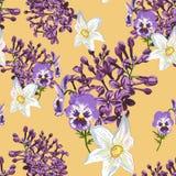 Ультрамодный цветочный узор в много вид цветков Картина весны безшовная, печатая с красивыми цветками Стоковое Изображение