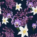 Ультрамодный цветочный узор в много вид цветков Картина весны безшовная, печатая с красивыми цветками Стоковая Фотография