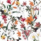Ультрамодный цветочный узор в много вид цветков Тропическое средство иллюстрация штока