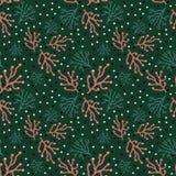 Ультрамодный цветочный узор в стиле doodle с ветвями на зеленом фоне иллюстрация вектора
