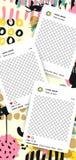 Ультрамодный editable шаблон для рассказов instagram с ходом щетки иллюстрация вектора