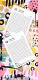 Ультрамодный editable шаблон для рассказов instagram с ходом щетки бесплатная иллюстрация