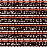 Ультрамодным символы красного цвета кирпича нарисованные конспектом криптические Иллюстрация штока