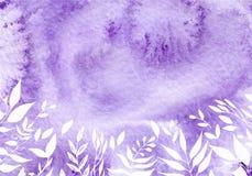Ультрафиолетовый луч акварели, фиолетовая абстрактная предпосылка с мыть vector иллюстрация Стоковое Изображение RF