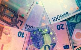 Ультрафиолетовый свет банкнот евро Стоковое Изображение RF